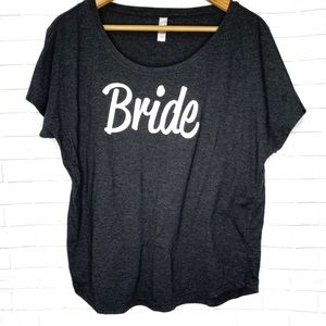 Next Level Gray Bride Spellout Graphic Tee